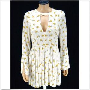 FREE PEOPLE dress Tegan ivory mustard floral 6